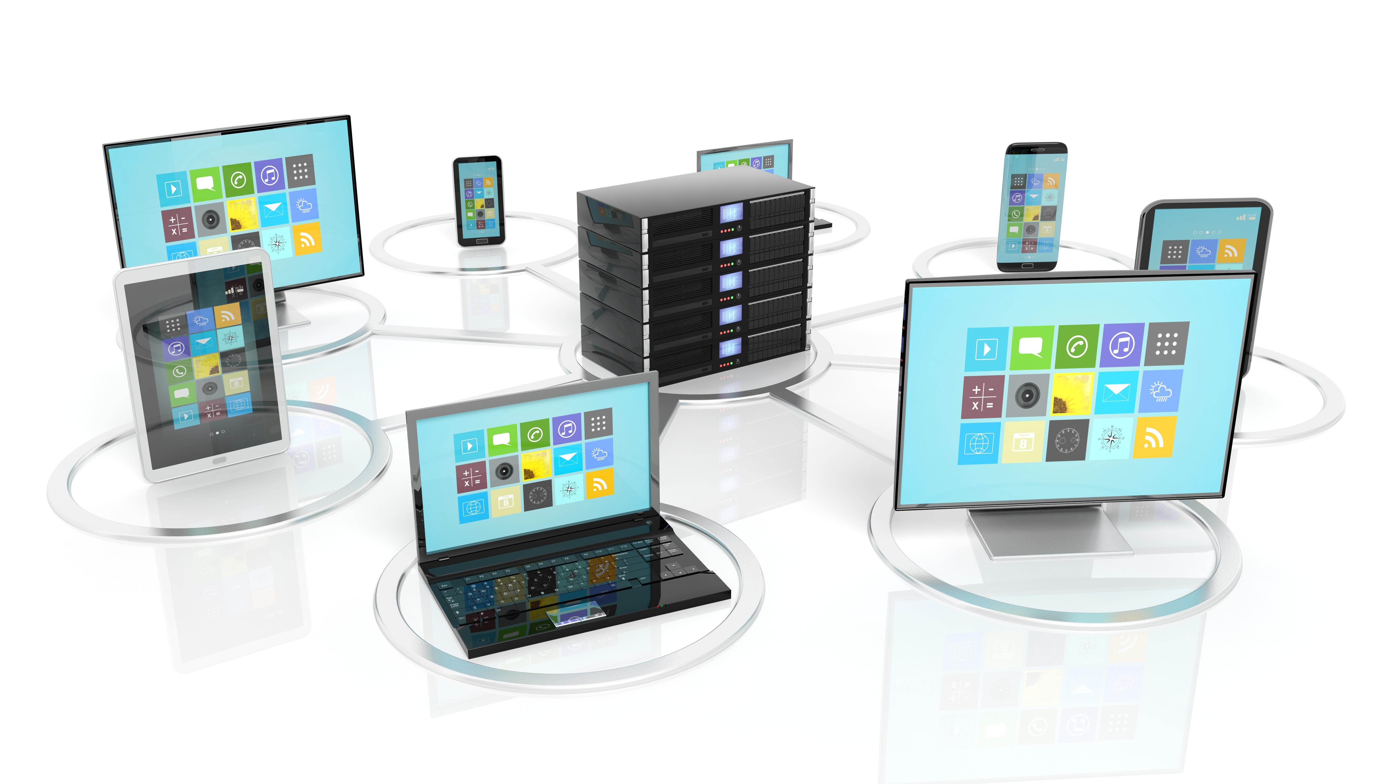 server rack, laptops, desktops