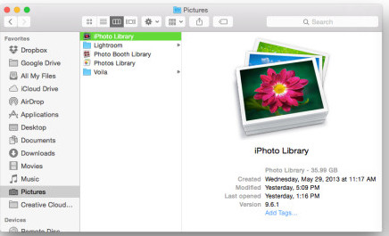 how to save iphoto library to external hard drive