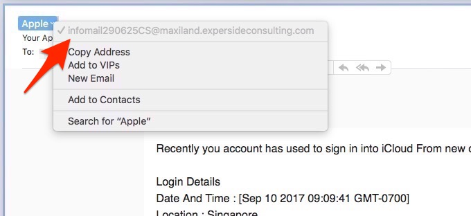 fake email address, Not Apple sender, Fake email, fraud email
