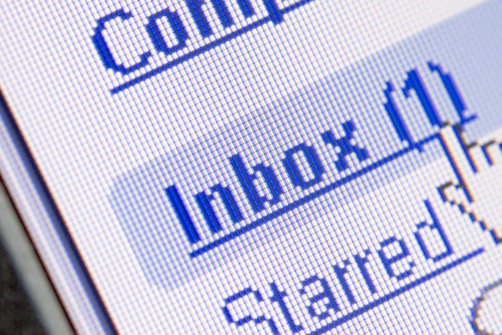 Screenshot of Inbox hyperlink